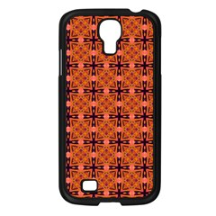 Peach Purple Abstract Moroccan Lattice Quilt Samsung Galaxy S4 I9500/ I9505 Case (black) by DianeClancy