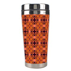 Peach Purple Abstract Moroccan Lattice Quilt Stainless Steel Travel Tumblers by DianeClancy