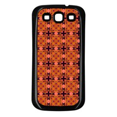 Peach Purple Abstract Moroccan Lattice Quilt Samsung Galaxy S3 Back Case (black) by DianeClancy