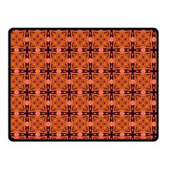 Peach Purple Abstract Moroccan Lattice Quilt Double Sided Fleece Blanket (small)  by DianeClancy