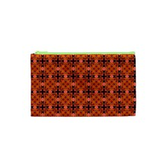 Peach Purple Abstract Moroccan Lattice Quilt Cosmetic Bag (xs) by DianeClancy