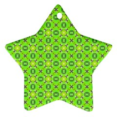 Vibrant Abstract Tropical Lime Foliage Lattice Ornament (star)  by DianeClancy