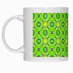 Vibrant Abstract Tropical Lime Foliage Lattice White Mugs by DianeClancy