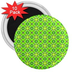 Vibrant Abstract Tropical Lime Foliage Lattice 3  Magnets (10 Pack)  by DianeClancy