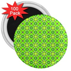 Vibrant Abstract Tropical Lime Foliage Lattice 3  Magnets (100 Pack) by DianeClancy