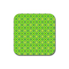Vibrant Abstract Tropical Lime Foliage Lattice Rubber Coaster (square)  by DianeClancy
