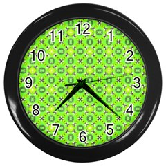 Vibrant Abstract Tropical Lime Foliage Lattice Wall Clocks (black) by DianeClancy