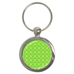 Vibrant Abstract Tropical Lime Foliage Lattice Key Chains (round)  by DianeClancy