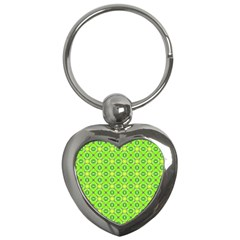 Vibrant Abstract Tropical Lime Foliage Lattice Key Chains (heart)  by DianeClancy