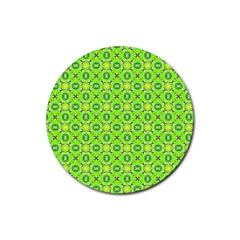 Vibrant Abstract Tropical Lime Foliage Lattice Rubber Round Coaster (4 Pack)  by DianeClancy