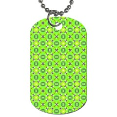 Vibrant Abstract Tropical Lime Foliage Lattice Dog Tag (two Sides) by DianeClancy