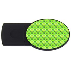 Vibrant Abstract Tropical Lime Foliage Lattice Usb Flash Drive Oval (2 Gb)  by DianeClancy