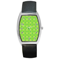 Vibrant Abstract Tropical Lime Foliage Lattice Barrel Style Metal Watch by DianeClancy