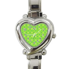Vibrant Abstract Tropical Lime Foliage Lattice Heart Italian Charm Watch by DianeClancy