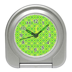 Vibrant Abstract Tropical Lime Foliage Lattice Travel Alarm Clocks by DianeClancy