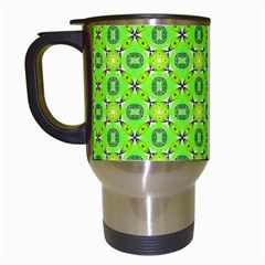 Vibrant Abstract Tropical Lime Foliage Lattice Travel Mugs (white) by DianeClancy