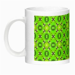 Vibrant Abstract Tropical Lime Foliage Lattice Night Luminous Mugs by DianeClancy