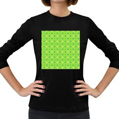 Vibrant Abstract Tropical Lime Foliage Lattice Women s Long Sleeve Dark T Shirts by DianeClancy