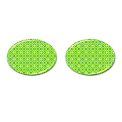 Vibrant Abstract Tropical Lime Foliage Lattice Cufflinks (oval) by DianeClancy