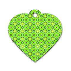 Vibrant Abstract Tropical Lime Foliage Lattice Dog Tag Heart (two Sides) by DianeClancy
