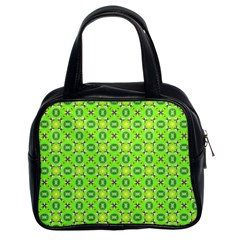 Vibrant Abstract Tropical Lime Foliage Lattice Classic Handbags (2 Sides) by DianeClancy