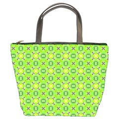 Vibrant Abstract Tropical Lime Foliage Lattice Bucket Bags by DianeClancy