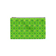 Vibrant Abstract Tropical Lime Foliage Lattice Cosmetic Bag (small)  by DianeClancy