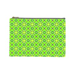Vibrant Abstract Tropical Lime Foliage Lattice Cosmetic Bag (large)  by DianeClancy