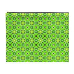 Vibrant Abstract Tropical Lime Foliage Lattice Cosmetic Bag (xl) by DianeClancy