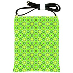 Vibrant Abstract Tropical Lime Foliage Lattice Shoulder Sling Bags by DianeClancy