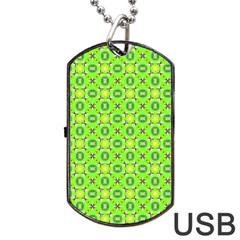 Vibrant Abstract Tropical Lime Foliage Lattice Dog Tag Usb Flash (one Side) by DianeClancy
