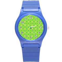 Vibrant Abstract Tropical Lime Foliage Lattice Round Plastic Sport Watch (s) by DianeClancy