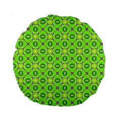 Vibrant Abstract Tropical Lime Foliage Lattice Standard 15  Premium Round Cushions by DianeClancy