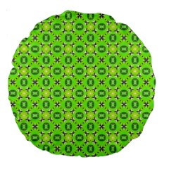 Vibrant Abstract Tropical Lime Foliage Lattice Large 18  Premium Round Cushions by DianeClancy