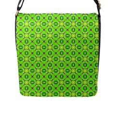 Vibrant Abstract Tropical Lime Foliage Lattice Flap Messenger Bag (l)  by DianeClancy