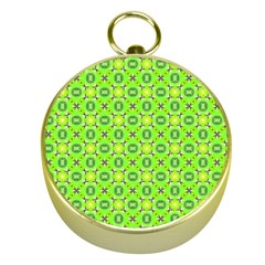 Vibrant Abstract Tropical Lime Foliage Lattice Gold Compasses by DianeClancy
