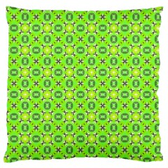 Vibrant Abstract Tropical Lime Foliage Lattice Large Flano Cushion Case (one Side) by DianeClancy