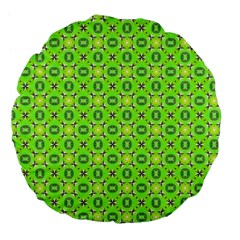 Vibrant Abstract Tropical Lime Foliage Lattice Large 18  Premium Flano Round Cushions by DianeClancy