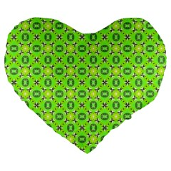 Vibrant Abstract Tropical Lime Foliage Lattice Large 19  Premium Flano Heart Shape Cushions by DianeClancy