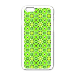 Vibrant Abstract Tropical Lime Foliage Lattice Apple Iphone 6/6s White Enamel Case by DianeClancy