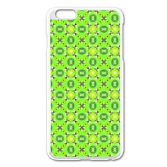 Vibrant Abstract Tropical Lime Foliage Lattice Apple Iphone 6 Plus/6s Plus Enamel White Case by DianeClancy
