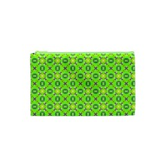 Vibrant Abstract Tropical Lime Foliage Lattice Cosmetic Bag (xs) by DianeClancy
