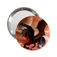 Wonderful Dark Unicorn In The Night 2 25  Handbag Mirrors