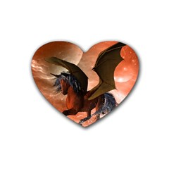 Wonderful Dark Unicorn In The Night Rubber Coaster (heart)  by FantasyWorld7