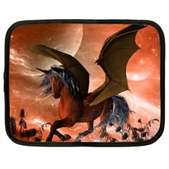 Wonderful Dark Unicorn In The Night Netbook Case (large) by FantasyWorld7