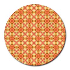 Peach Pineapple Abstract Circles Arches Round Mousepads by DianeClancy