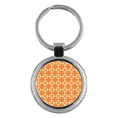 Peach Pineapple Abstract Circles Arches Key Chains (round)  by DianeClancy