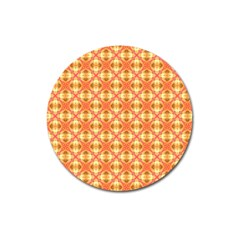 Peach Pineapple Abstract Circles Arches Magnet 3  (round) by DianeClancy