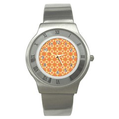 Peach Pineapple Abstract Circles Arches Stainless Steel Watch by DianeClancy