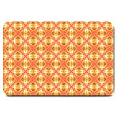 Peach Pineapple Abstract Circles Arches Large Doormat  by DianeClancy